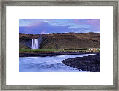 Framed Print featuring the photograph Skogafoss Dusk Iceland by Brad Scott