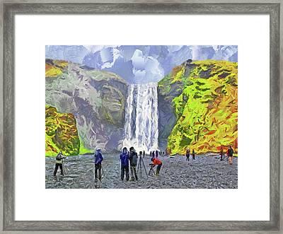 Framed Print featuring the digital art Skogafoss Waterfall by Digital Photographic Arts