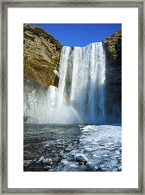 Framed Print featuring the photograph Skogafoss Waterfall Iceland In Winter by Matthias Hauser