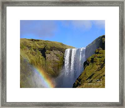 Skogafoss Waterfall With Rainbow 151 Framed Print
