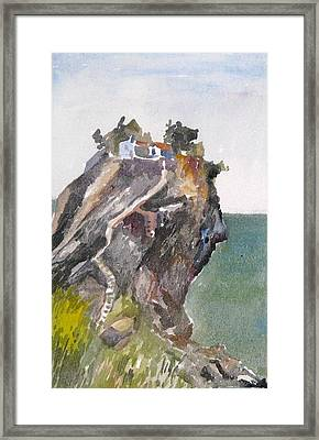 Skopelos Church On The Rock Framed Print by George Siaba
