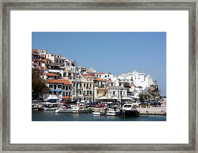 Skopelos Harbour Greece Framed Print by Yvonne Ayoub