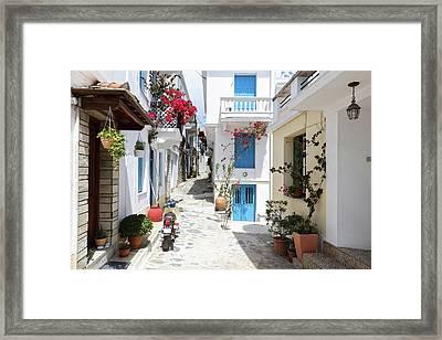 Skopelos Street Framed Print by Evgeni Dinev