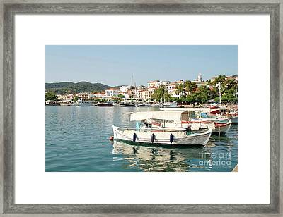 Skopelos Town Harbour In Greece Framed Print