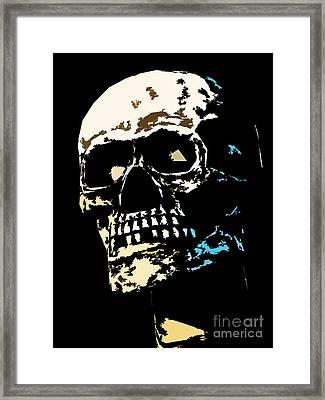 Skull Against A Dark Background Framed Print