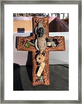 Skull And Arrow Cross Framed Print