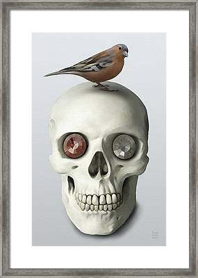 Skull And Bird Framed Print by Ivana Westin