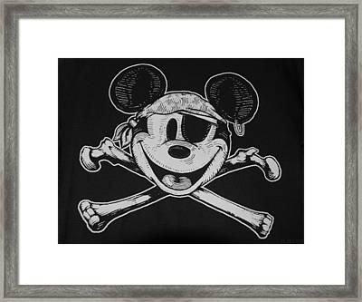 Skull And Bones Mickey  Framed Print