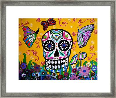 Skull And Butterflies Framed Print by Pristine Cartera Turkus