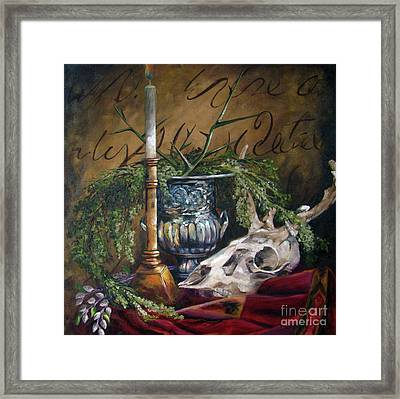 Skull And Candle Framed Print