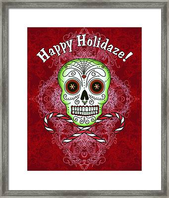 Skull And Candy Canes Framed Print by Tammy Wetzel