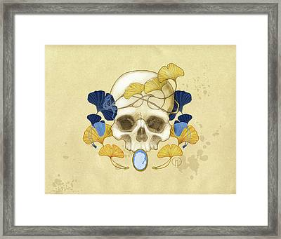 Skull And Ginkgo Framed Print by Catherine Noel