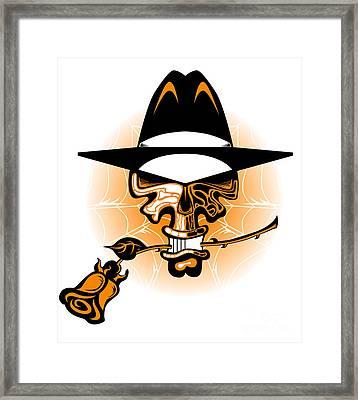 Skull And Rose Framed Print by Robert Ball