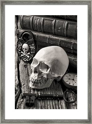 Skull And Skeleton Key Framed Print by Garry Gay