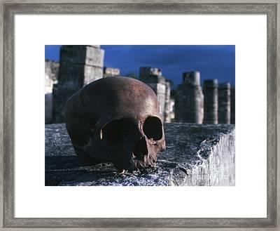 Skull At Chichen Itza Framed Print