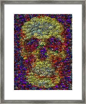 Framed Print featuring the mixed media Skull Eyeball Mosaic by Paul Van Scott