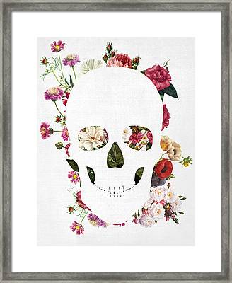 Skull Grunge Flower Framed Print by Francisco Valle