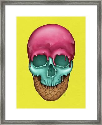 Skull Icecream Framed Print by Francisco Valle