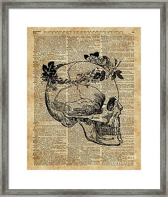 Skull In Floral Wreath Ink Drawing Dictionary Art Framed Print by Jacob Kuch