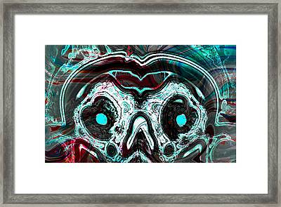 Skull Of A Mad Alien With Snake Framed Print by Abstract Angel Artist Stephen K