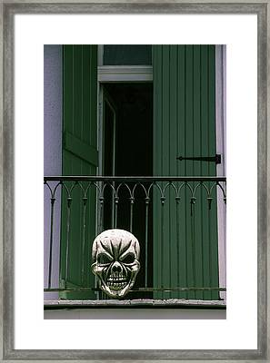 Skull On Wrought Iron Rail Framed Print by Garry Gay