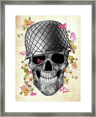 Skull Soldier Framed Print by Francisco Valle