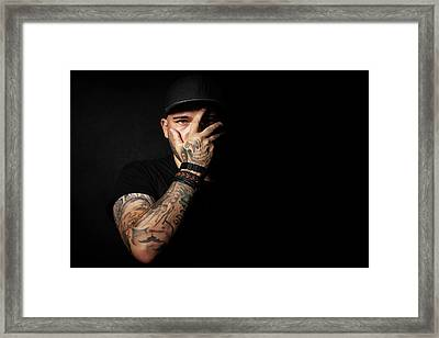 Skull Tattoo On Hand Covering Face Framed Print