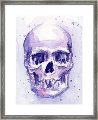 Skull Watercolor Purple Framed Print