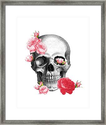 Skull With Pink Roses Framed Art Print Framed Print by Madame Memento