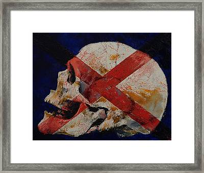 Skull With Cross Framed Print by Michael Creese