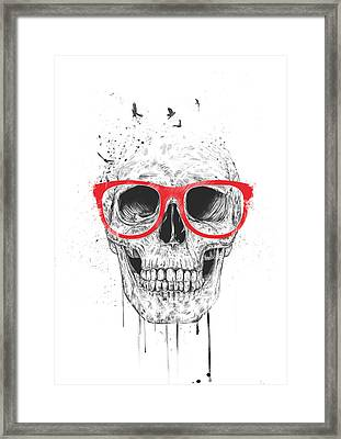 Skull With Red Glasses Framed Print by Balazs Solti