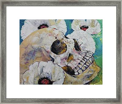 Skull With White Poppies Framed Print by Michael Creese