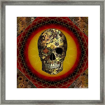 Framed Print featuring the digital art Skullgear by Iowan Stone-Flowers