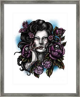 Skulls And Roses Framed Print