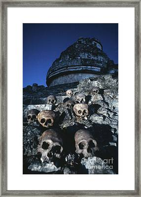 Skulls At Chichen Itza Framed Print by The Harrington Collection