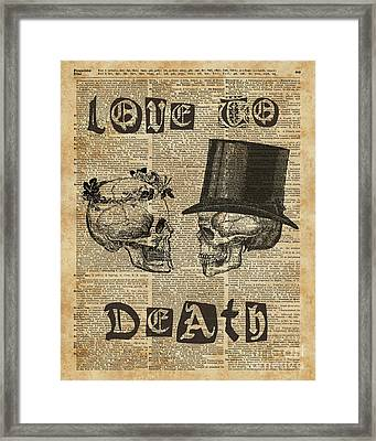 Skulls Love To Death Vintage Dictionary Art Framed Print by Joanna Kuch