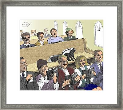 Skunk Goes To Church - Sits In Own Pew Framed Print