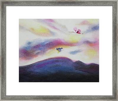 Sky And Birds Framed Print by Suzanne  Marie Leclair