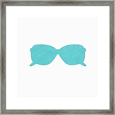 Sky Blue Sunglasses- Art By Linda Woods Framed Print by Linda Woods