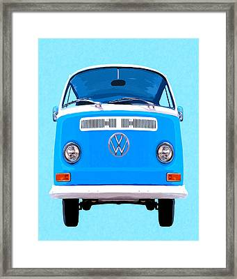 Sky Blue Vw Camper Framed Print