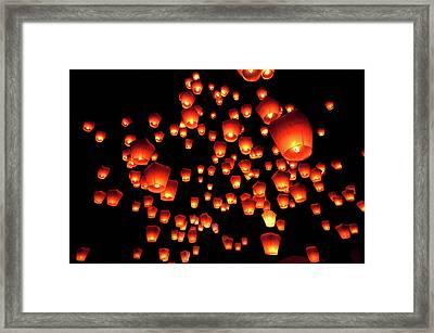 Sky Lanterns In Pinghsi Framed Print by Jun
