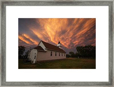 Framed Print featuring the photograph Sky Of Fire by Aaron J Groen
