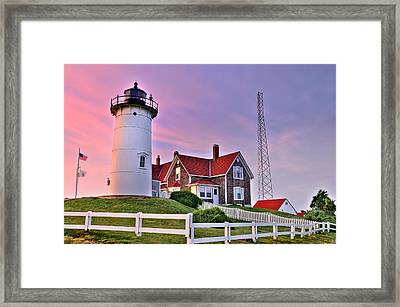 Sky Of Passion - Nobska Lighthouse Framed Print by Thomas Schoeller