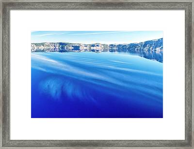 Sky Reflection In Crater Lake Framed Print by Frank Wilson