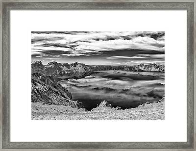 Sky Reflections In Crater Lake B W Framed Print by Frank Wilson