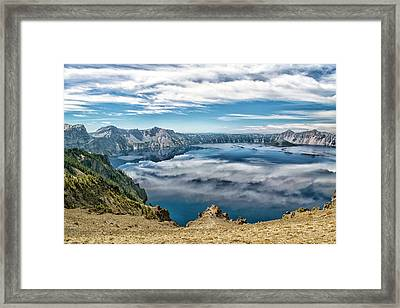 Sky Reflections In Crater Lake  Framed Print by Frank Wilson
