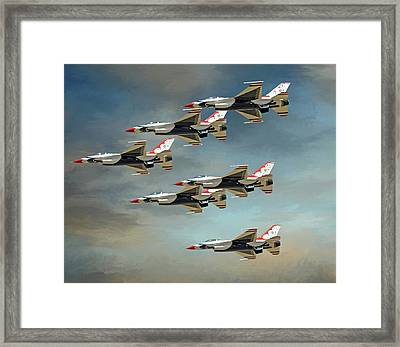 Sky Rockets In Flight Framed Print by Donna Kennedy
