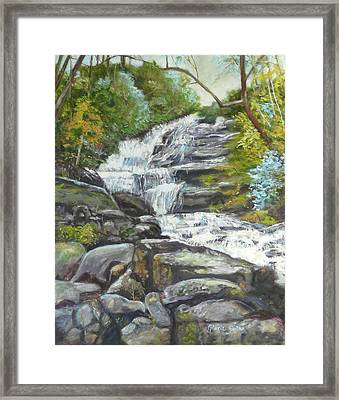 Sky Valley Waterfall Framed Print