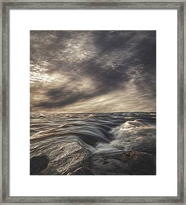 Sky Water Rocks Framed Print