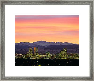 Skyline And Mountains At Dusk, Denver Framed Print by Panoramic Images